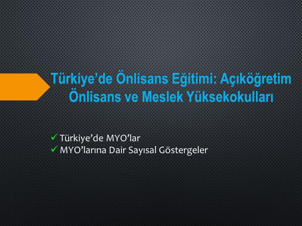 Türkiye'de MYO'lar MYO'larına Dair Sayısal Göstergeler