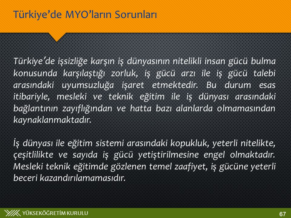 YÜKSEKÖĞRETİM KURULU Türkiye'de işsizliğe karşın iş dünyasının nitelikli insan gücü bulma konusunda karşılaştığı zorluk, iş gücü arzı ile iş gücü tale