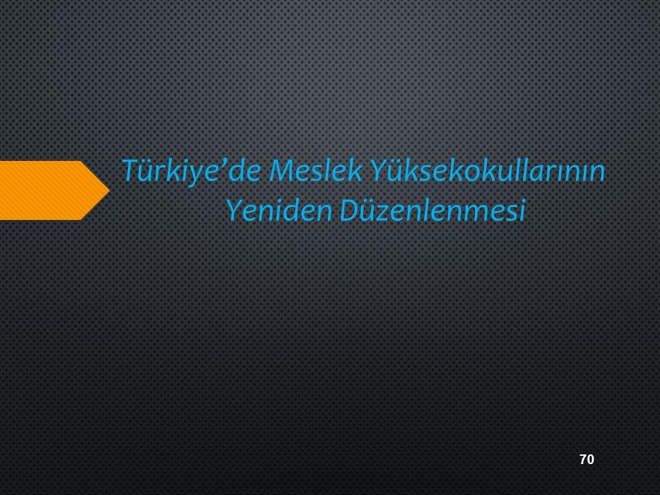Türkiye'de Meslek Yüksekokullarının Yeniden Düzenlenmesi 70