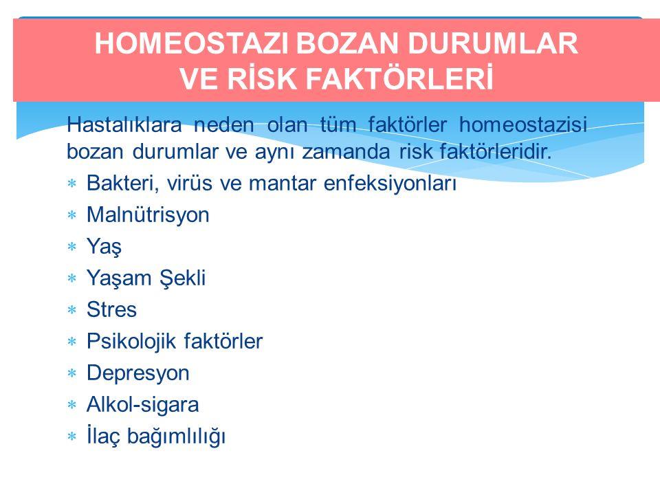 Hastalıklara neden olan tüm faktörler homeostazisi bozan durumlar ve aynı zamanda risk faktörleridir.  Bakteri, virüs ve mantar enfeksiyonları  Maln