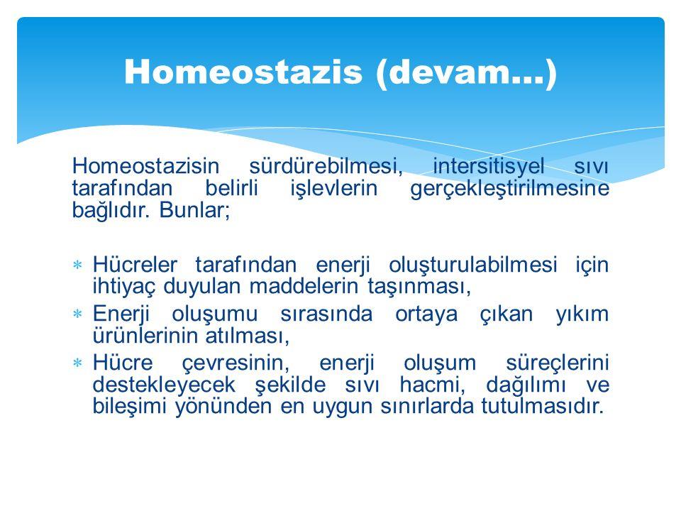 Homeostazisin sürdürebilmesi, intersitisyel sıvı tarafından belirli işlevlerin gerçekleştirilmesine bağlıdır. Bunlar;  Hücreler tarafından enerji olu