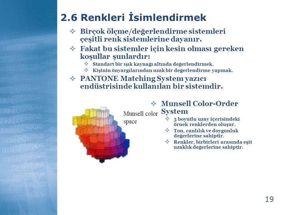 19 2.6 Renkleri İsimlendirmek  Birçok ölçme/değerlendirme sistemleri çeşitli renk sistemlerine dayanır.  Fakat bu sistemler için kesin olması gereke
