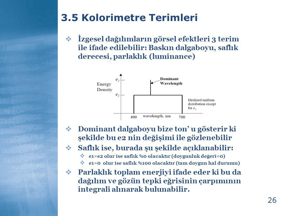 26 3.5 Kolorimetre Terimleri  İzgesel dağılımların görsel efektleri 3 terim ile ifade edilebilir: Baskın dalgaboyu, saflık derecesi, parlaklık (lumin
