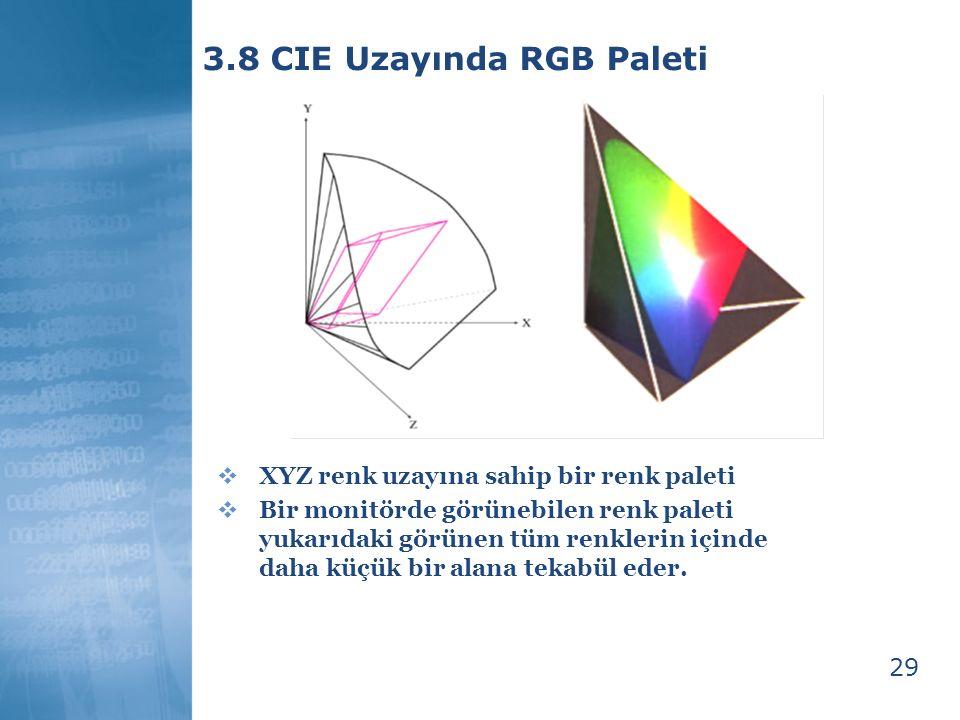 29 3.8 CIE Uzayında RGB Paleti  XYZ renk uzayına sahip bir renk paleti  Bir monitörde görünebilen renk paleti yukarıdaki görünen tüm renklerin içind