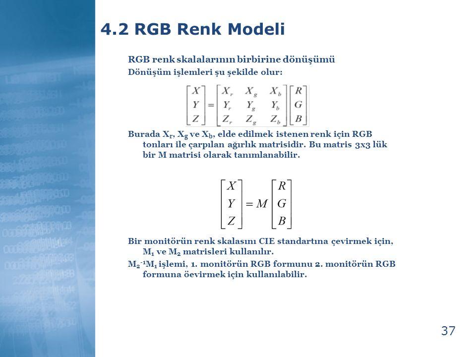 37 4.2 RGB Renk Modeli RGB renk skalalarının birbirine dönüşümü Dönüşüm işlemleri şu şekilde olur: Burada X r, X g ve X b, elde edilmek istenen renk i