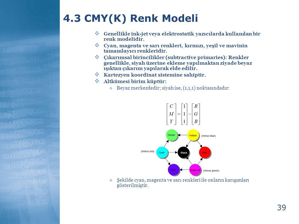 39 4.3 CMY(K) Renk Modeli  Genellikle ink-jet veya elektrostatik yazıcılarda kullanılan bir renk modelidir.  Cyan, magenta ve sarı renkleri, kırmızı