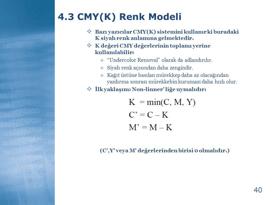 40 4.3 CMY(K) Renk Modeli  Bazı yazıcılar CMY(K) sistemini kullanır ki buradaki K siyah renk anlamına gelmektedir.  K değeri CMY değerlerinin toplam
