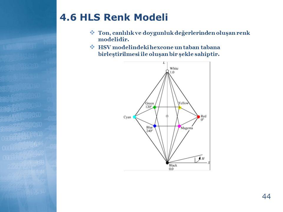 44 4.6 HLS Renk Modeli  Ton, canlılık ve doygunluk değerlerinden oluşan renk modelidir.  HSV modelindeki hexcone un taban tabana birleştirilmesi ile