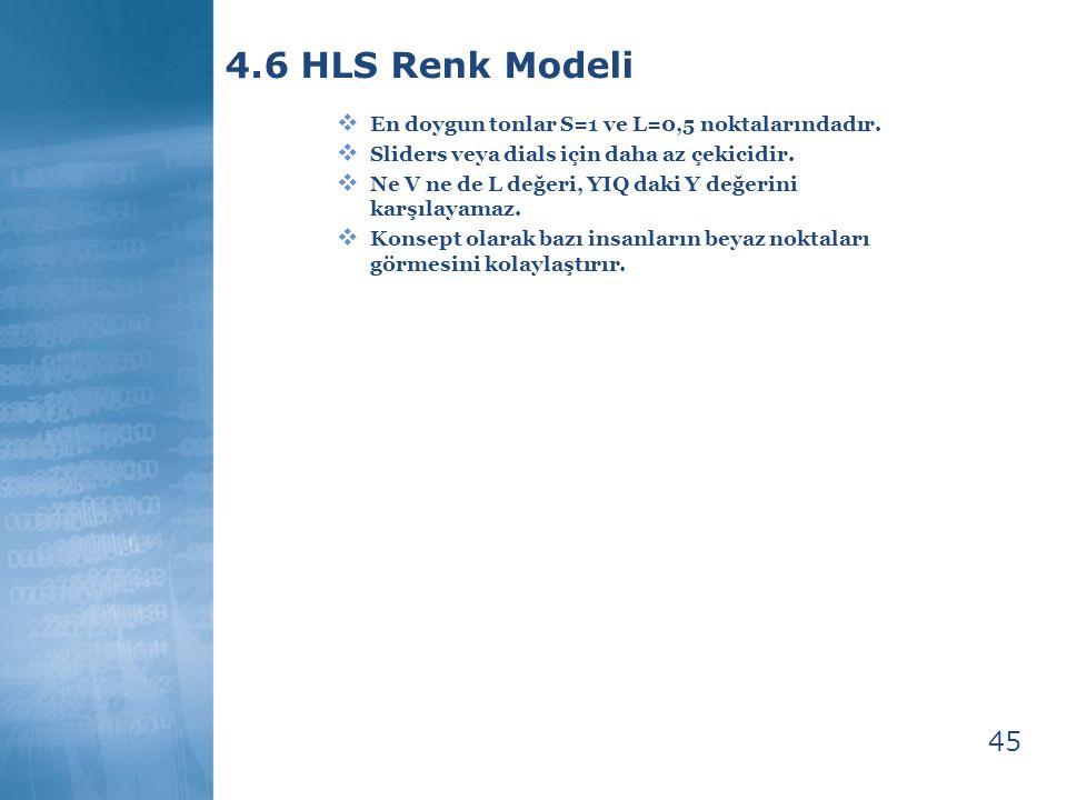 45 4.6 HLS Renk Modeli  En doygun tonlar S=1 ve L=0,5 noktalarındadır.  Sliders veya dials için daha az çekicidir.  Ne V ne de L değeri, YIQ daki Y