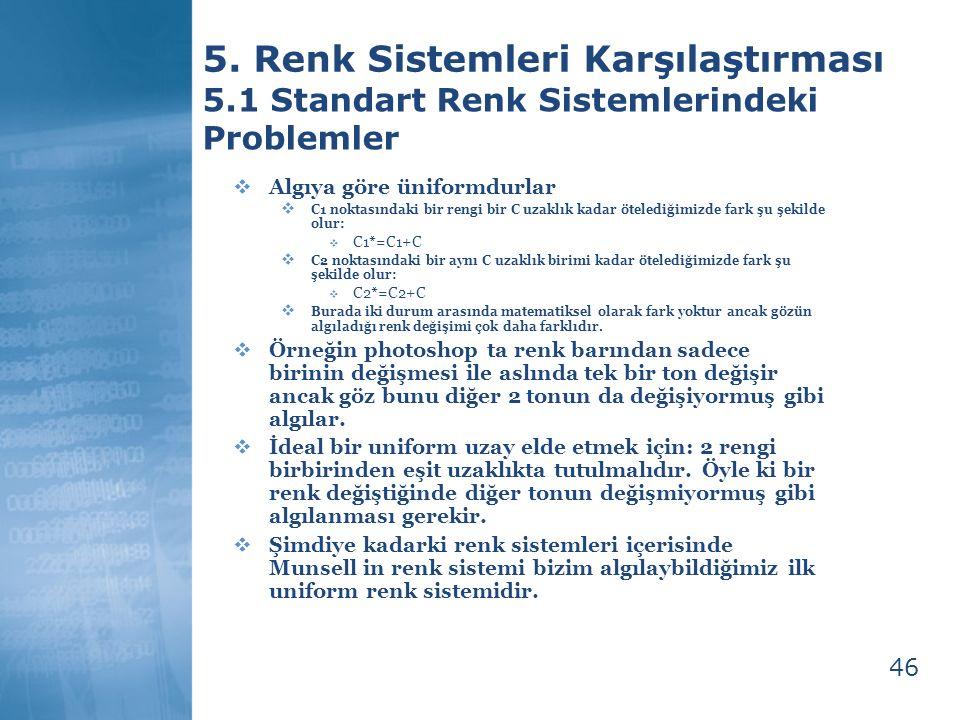 46 5. Renk Sistemleri Karşılaştırması 5.1 Standart Renk Sistemlerindeki Problemler  Algıya göre üniformdurlar  C1 noktasındaki bir rengi bir C uzakl