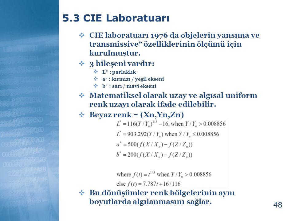 49 5.4 Renk Modellerinin Avantajları ve Dezavantajları  RGB + Kartezyen koordinat sistemine sahiptir.