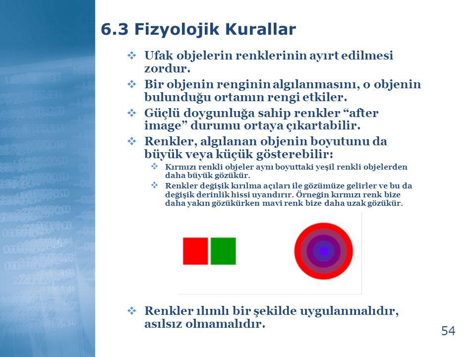 54 6.3 Fizyolojik Kurallar  Ufak objelerin renklerinin ayırt edilmesi zordur.  Bir objenin renginin algılanmasını, o objenin bulunduğu ortamın rengi