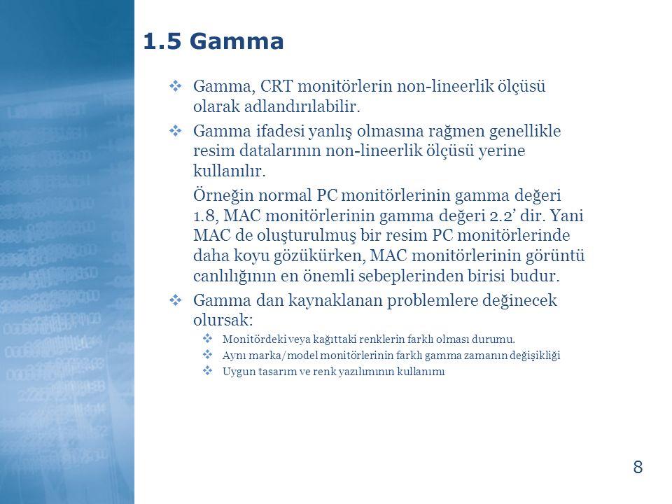 8 1.5 Gamma  Gamma, CRT monitörlerin non-lineerlik ölçüsü olarak adlandırılabilir.  Gamma ifadesi yanlış olmasına rağmen genellikle resim datalarını