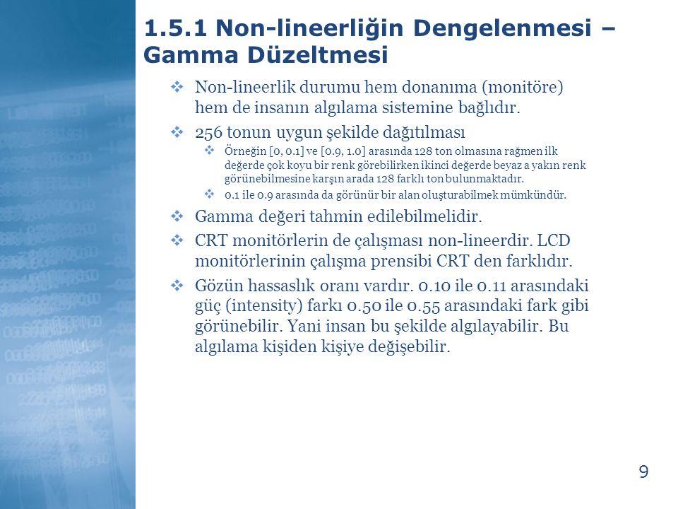 9 1.5.1 Non-lineerliğin Dengelenmesi – Gamma Düzeltmesi  Non-lineerlik durumu hem donanıma (monitöre) hem de insanın algılama sistemine bağlıdır.  2