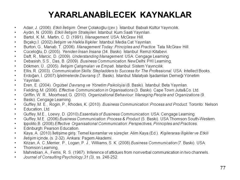 YARARLANABİLECEK KAYNAKLAR Adair, J. (2006). Etkili İletişim. Ömer Çolakoğlu (çev.). İstanbul: Babıali Kültür Yayıncılık. Aydın, N. (2009). Etkili İle