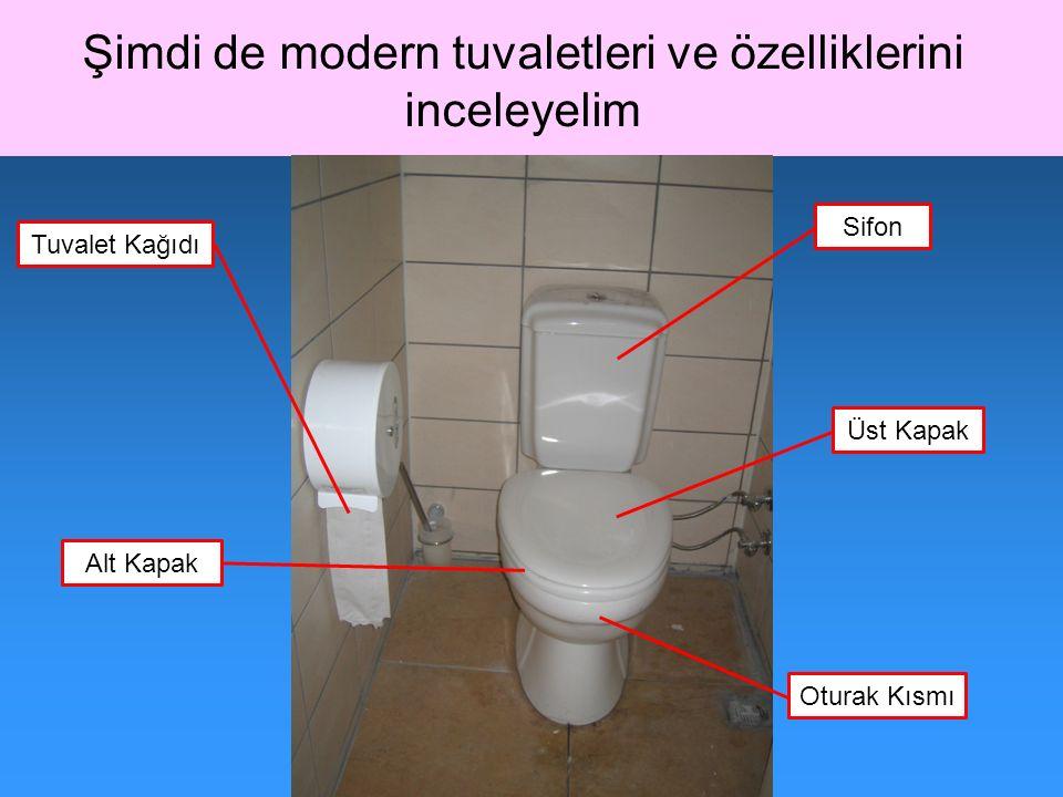 Şimdi de modern tuvaletleri ve özelliklerini inceleyelim Oturak Kısmı Alt Kapak Üst Kapak Sifon Tuvalet Kağıdı