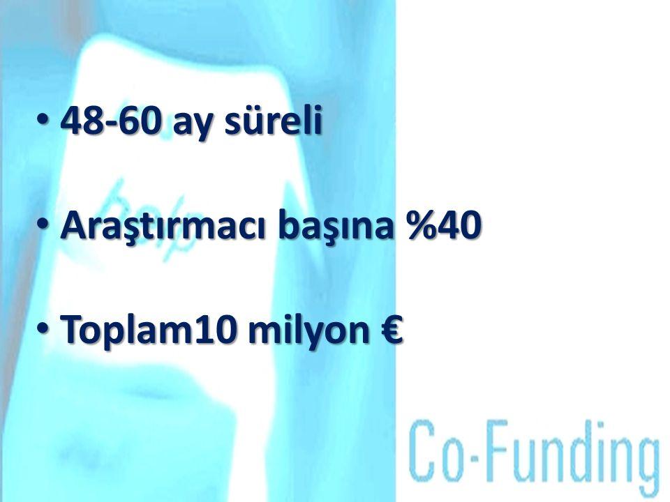 48-60 ay süreli 48-60 ay süreli Araştırmacı başına %40 Araştırmacı başına %40 Toplam10 milyon € Toplam10 milyon €