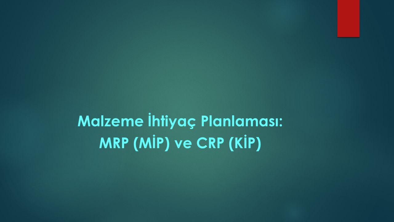 Malzeme İhtiyaç Planlaması: MRP (MİP) ve CRP (KİP)