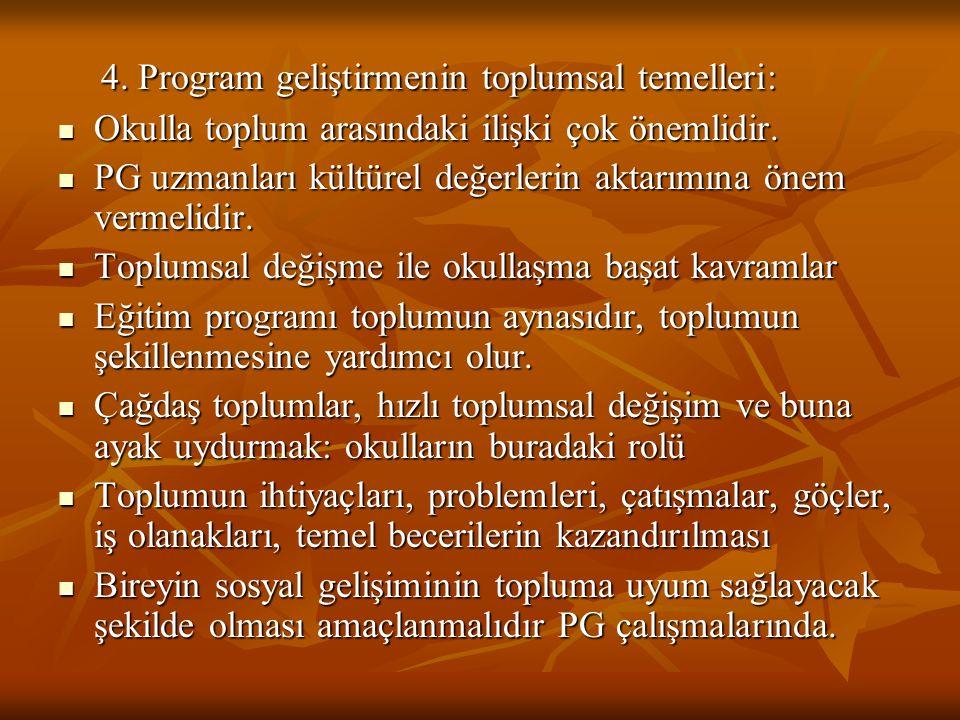 4. Program geliştirmenin toplumsal temelleri: 4. Program geliştirmenin toplumsal temelleri: Okulla toplum arasındaki ilişki çok önemlidir. Okulla topl