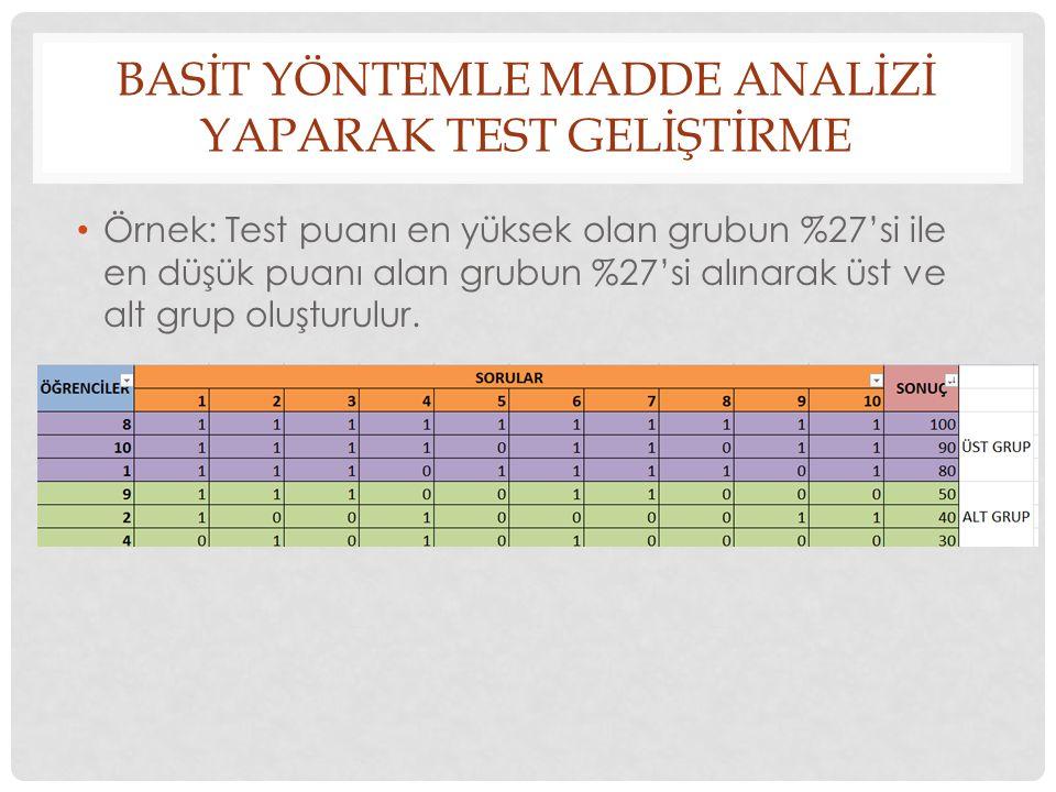 BASİT YÖNTEMLE MADDE ANALİZİ YAPARAK TEST GELİŞTİRME Örnek: Test puanı en yüksek olan grubun %27'si ile en düşük puanı alan grubun %27'si alınarak üst