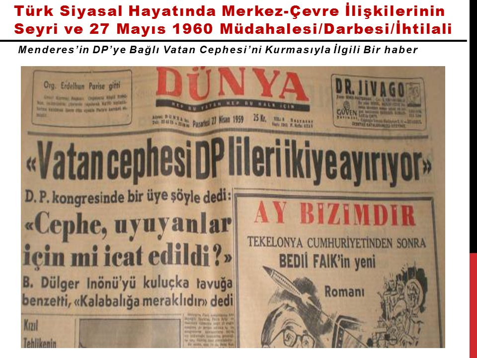 Türk Siyasal Hayatında Merkez-Çevre İlişkilerinin Seyri ve 27 Mayıs 1960 Müdahalesi/Darbesi/İhtilali Menderes'in DP'ye Bağlı Vatan Cephesi'ni Kurmasıyla İlgili Bir haber