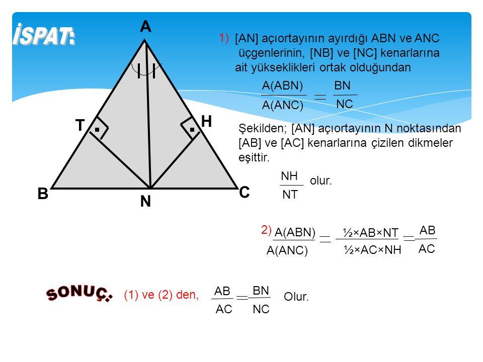 A N C B T H 1) A(ABN) A(ANC) BN NC [AN] açıortayının ayırdığı ABN ve ANC üçgenlerinin, [NB] ve [NC] kenarlarına ait yükseklikleri ortak olduğundan Şekilden; [AN] açıortayının N noktasından [AB] ve [AC] kenarlarına çizilen dikmeler eşittir.
