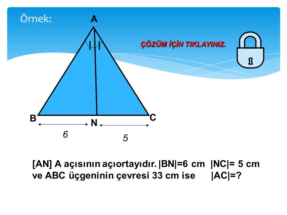 Şekildeki ABC üçgeninde [AD] ve [AN] sırasıyla A açısının iç ve dış açı ortaylarıdır.