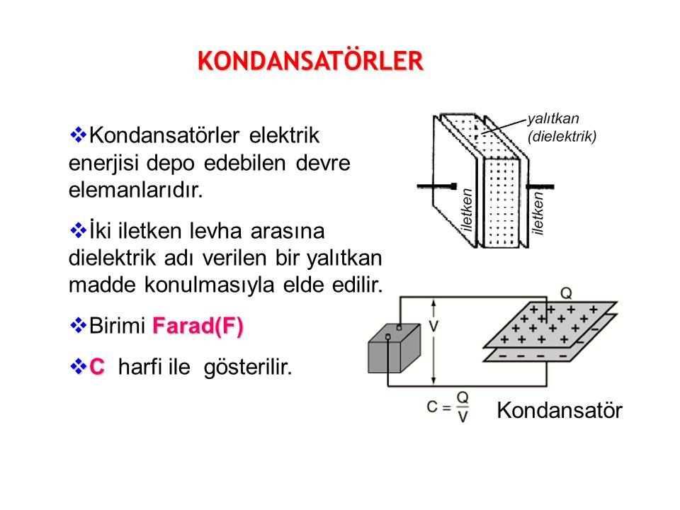 KONDANSATÖRLER  Kondansatörler elektrik enerjisi depo edebilen devre elemanlarıdır.
