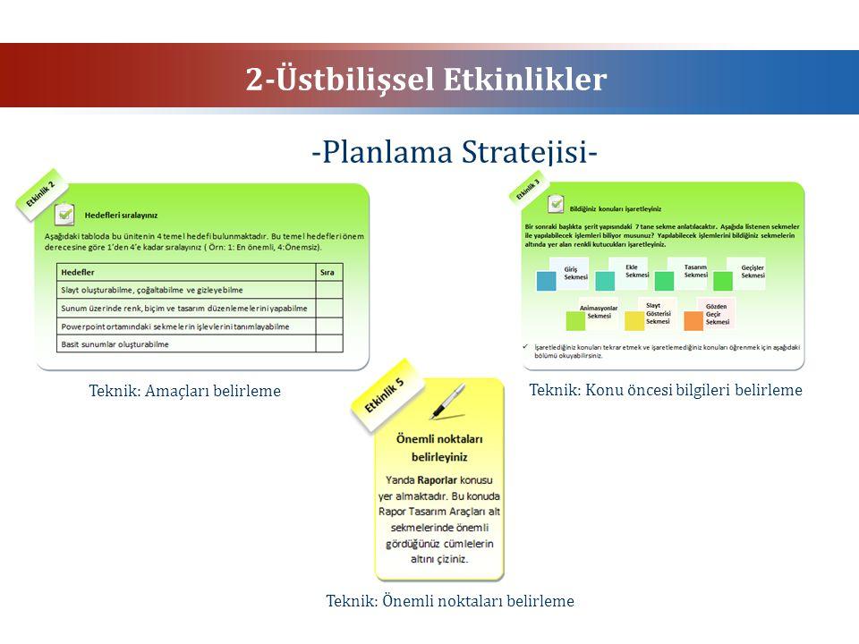 2-Üstbilişsel Etkinlikler -Planlama Stratejisi- Teknik: Önemli noktaları belirleme Teknik: Amaçları belirleme Teknik: Konu öncesi bilgileri belirleme