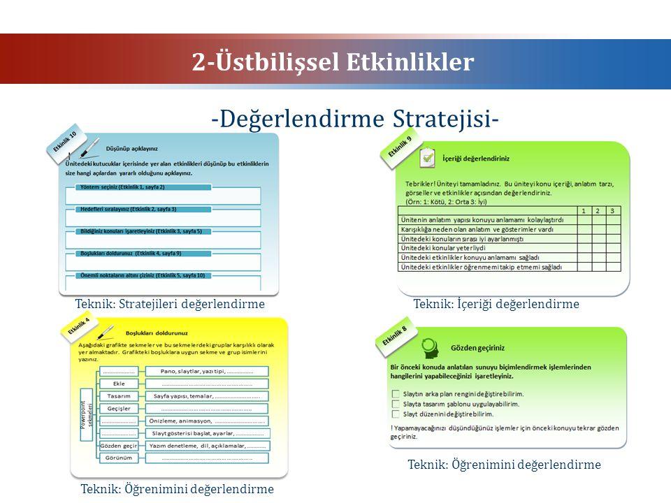 2-Üstbilişsel Etkinlikler -Değerlendirme Stratejisi- Teknik: İçeriği değerlendirmeTeknik: Stratejileri değerlendirme Teknik: Öğrenimini değerlendirme