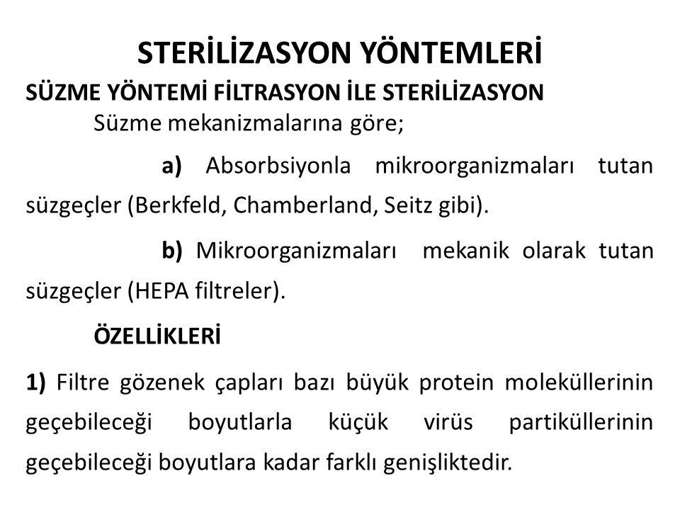 STERİLİZASYON YÖNTEMLERİ SÜZME YÖNTEMİ FİLTRASYON İLE STERİLİZASYON Süzme mekanizmalarına göre; a) Absorbsiyonla mikroorganizmaları tutan süzgeçler (B