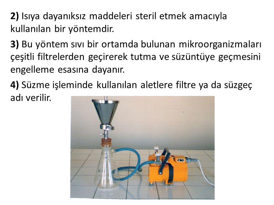 2) Isıya dayanıksız maddeleri steril etmek amacıyla kullanılan bir yöntemdir. 3) Bu yöntem sıvı bir ortamda bulunan mikroorganizmaları çeşitli filtrel