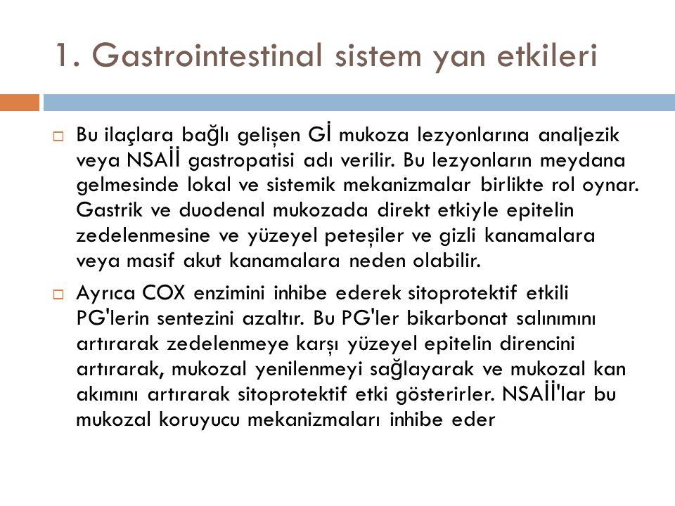 1. Gastrointestinal sistem yan etkileri  Bu ilaçlara ba ğ lı gelişen G İ mukoza lezyonlarına analjezik veya NSA İİ gastropatisi adı verilir. Bu lezyo
