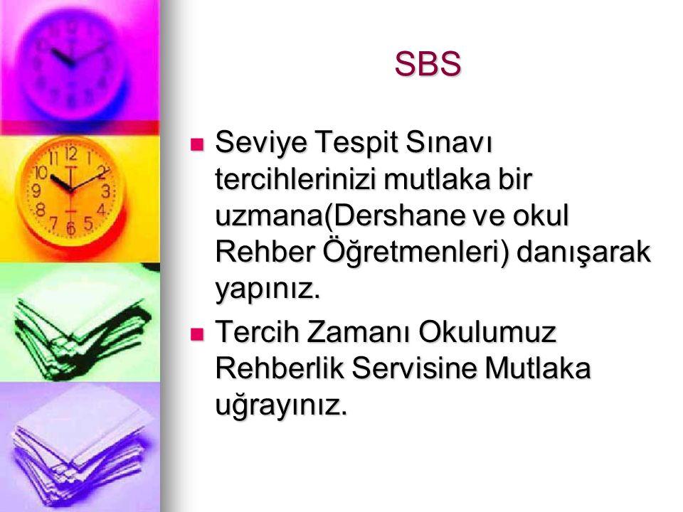 SBS Seviye Tespit Sınavı tercihlerinizi mutlaka bir uzmana(Dershane ve okul Rehber Öğretmenleri) danışarak yapınız. Seviye Tespit Sınavı tercihleriniz