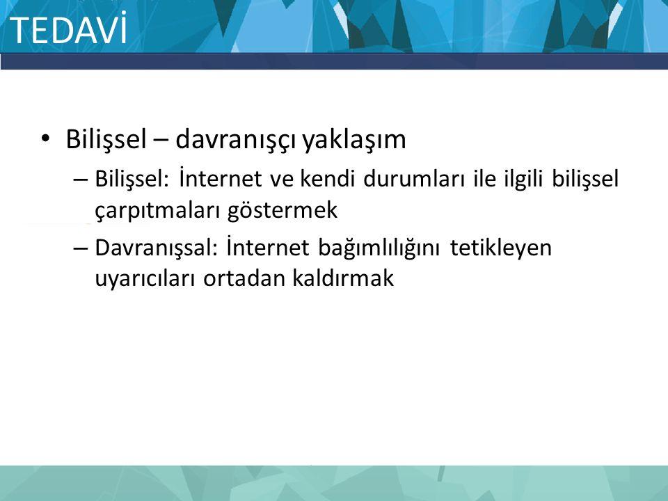 TEDAVİ Bilişsel – davranışçı yaklaşım – Bilişsel: İnternet ve kendi durumları ile ilgili bilişsel çarpıtmaları göstermek – Davranışsal: İnternet bağım