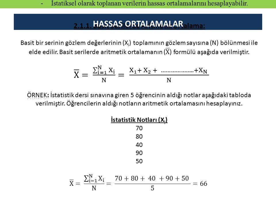 HASSAS ORTALAMALAR - İstatiksel olarak toplanan verilerin hassas ortalamalarını hesaplayabilir.