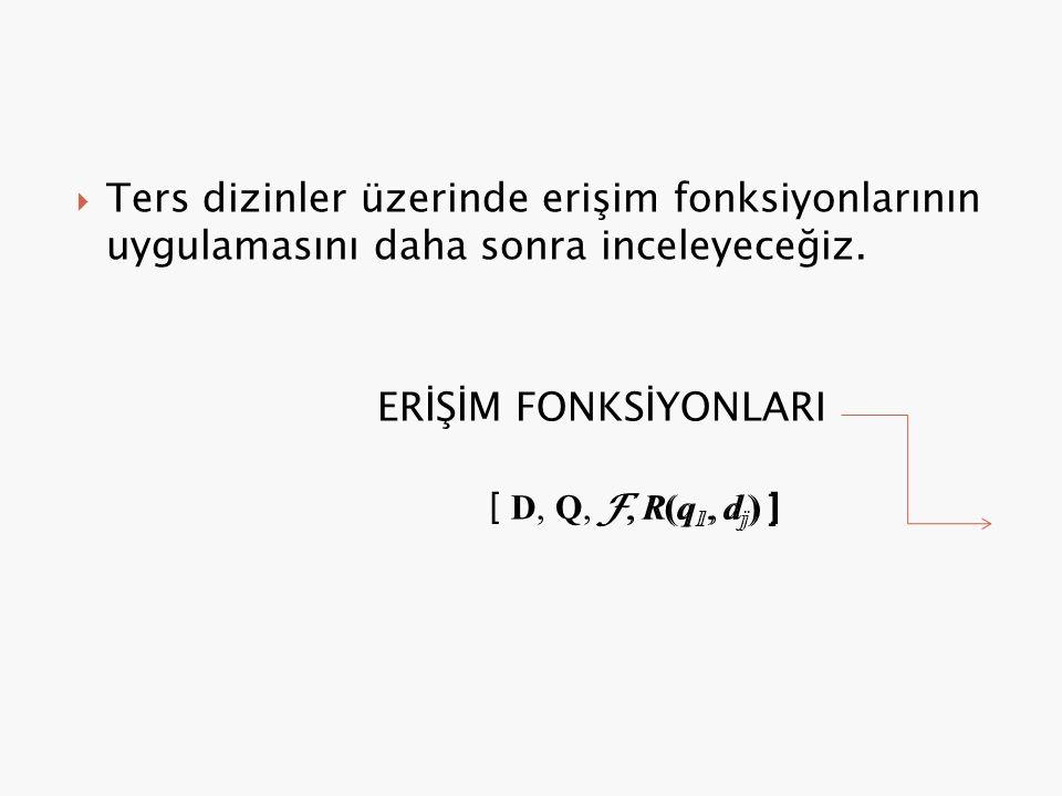  Ters dizinler üzerinde erişim fonksiyonlarının uygulamasını daha sonra inceleyeceğiz. ERİŞİM FONKSİYONLARI [ D, Q, F, R(q 1, d j ) ] F, R(q 1, d j )