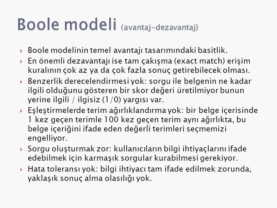  Boole modelinin temel avantajı tasarımındaki basitlik.  En önemli dezavantajı ise tam çakışma (exact match) erişim kuralının çok az ya da çok fazla