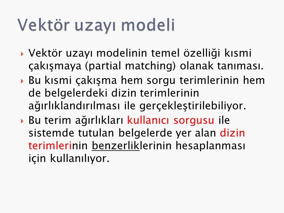  Vektör uzayı modelinin temel özelliği kısmi çakışmaya (partial matching) olanak tanıması.  Bu kısmi çakışma hem sorgu terimlerinin hem de belgelerd