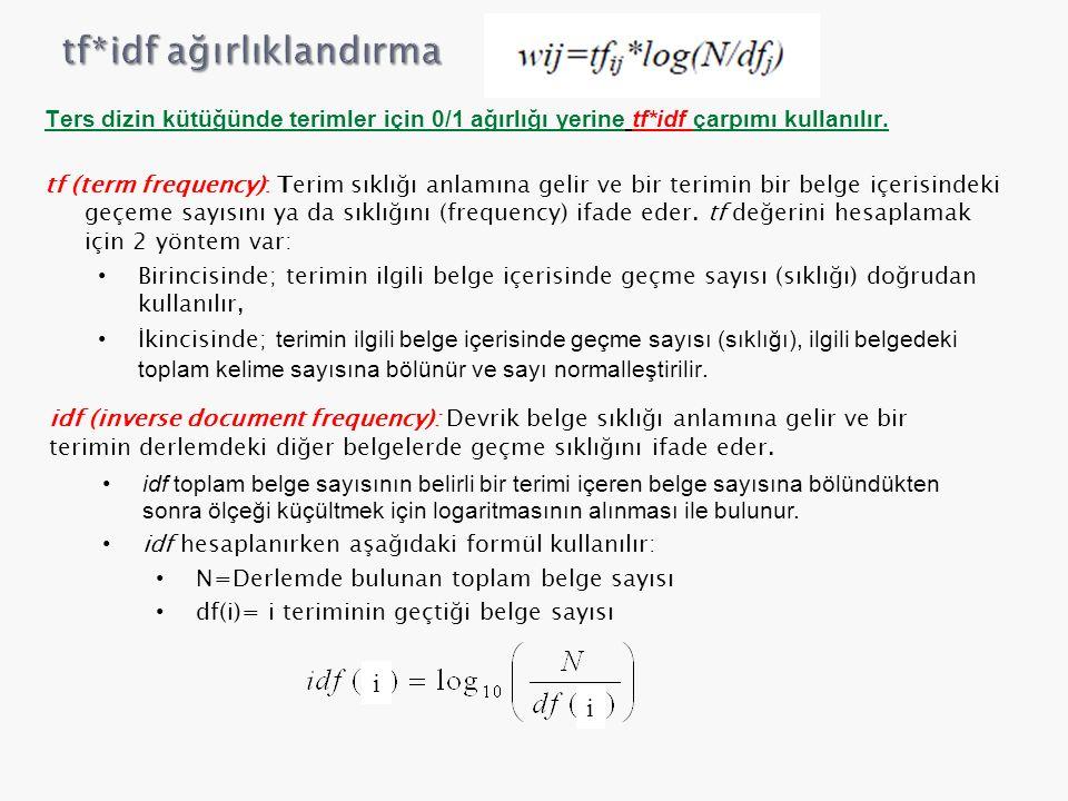 Ters dizin kütüğünde terimler için 0/1 ağırlığı yerine tf*idf çarpımı kullanılır. tf (term frequency): Terim sıklığı anlamına gelir ve bir terimin bir