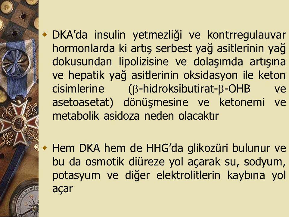  DKA'da insulin yetmezliği ve kontrregulauvar hormonlarda ki artış serbest yağ asitlerinin yağ dokusundan lipolizisine ve dolaşımda artışına ve hepat