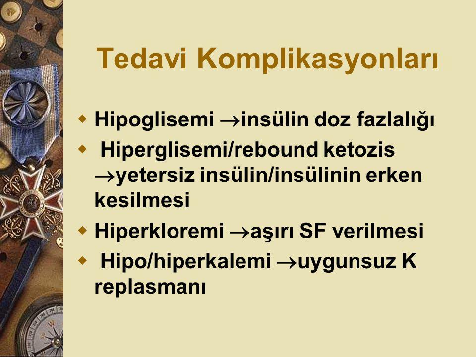 Tedavi Komplikasyonları  Hipoglisemi  insülin doz fazlalığı  Hiperglisemi/rebound ketozis  yetersiz insülin/insülinin erken kesilmesi  Hiperklore