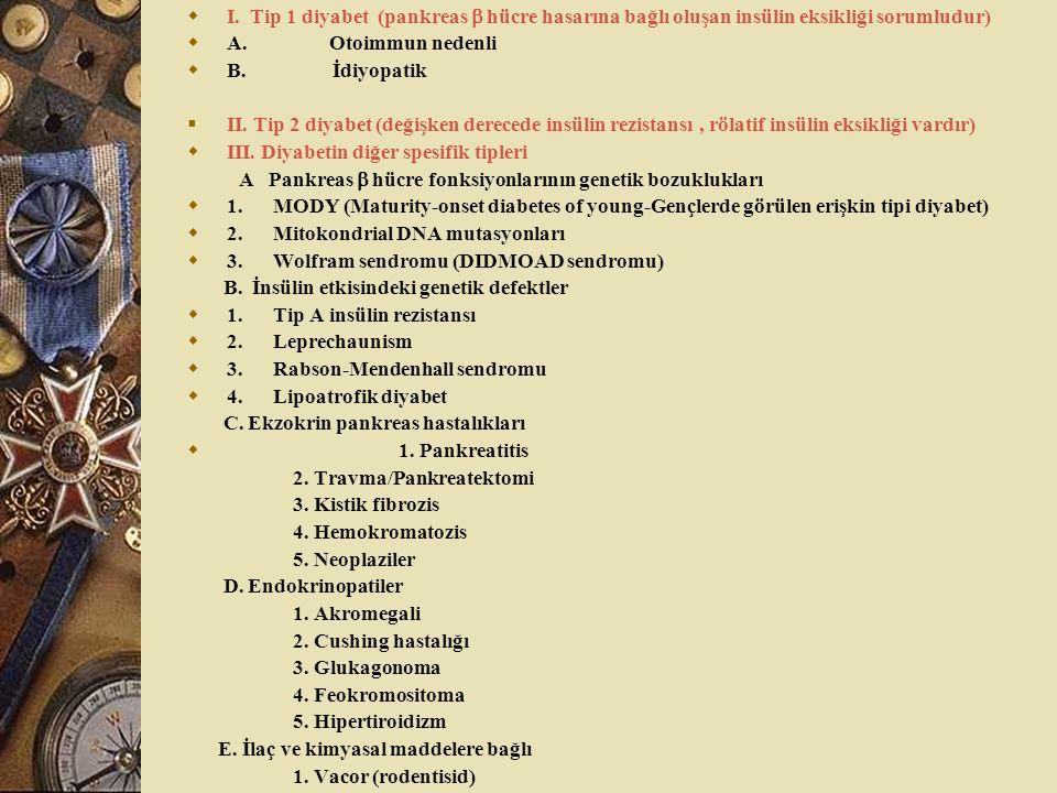  I. Tip 1 diyabet (pankreas  hücre hasarına bağlı oluşan insülin eksikliği sorumludur)  A. Otoimmun nedenli  B. İdiyopatik  II. Tip 2 diyabet (de