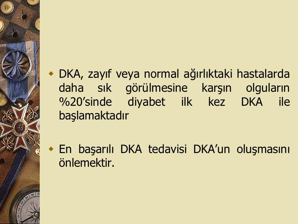  DKA, zayıf veya normal ağırlıktaki hastalarda daha sık görülmesine karşın olguların %20'sinde diyabet ilk kez DKA ile başlamaktadır  En başarılı DK