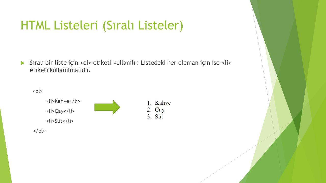HTML Listeleri (Sıralı Listeler)  Sıralı bir liste için etiketi kullanılır.