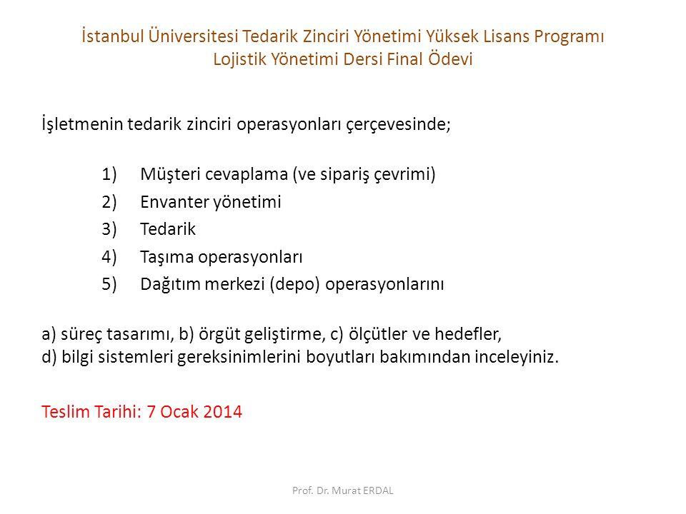 İstanbul Üniversitesi Tedarik Zinciri Yönetimi Yüksek Lisans Programı Lojistik Yönetimi Dersi Final Ödevi İşletmenin tedarik zinciri operasyonları çerçevesinde; 1)Müşteri cevaplama (ve sipariş çevrimi) 2)Envanter yönetimi 3)Tedarik 4)Taşıma operasyonları 5)Dağıtım merkezi (depo) operasyonlarını a) süreç tasarımı, b) örgüt geliştirme, c) ölçütler ve hedefler, d) bilgi sistemleri gereksinimlerini boyutları bakımından inceleyiniz.