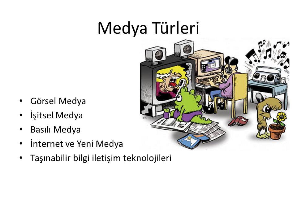 Medya Türleri Görsel Medya İşitsel Medya Basılı Medya İnternet ve Yeni Medya Taşınabilir bilgi iletişim teknolojileri