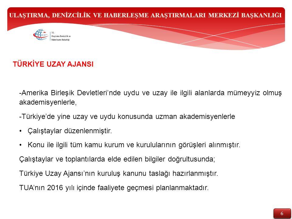 6 6 -Amerika Birleşik Devletleri'nde uydu ve uzay ile ilgili alanlarda mümeyyiz olmuş akademisyenlerle, -Türkiye'de yine uzay ve uydu konusunda uzman