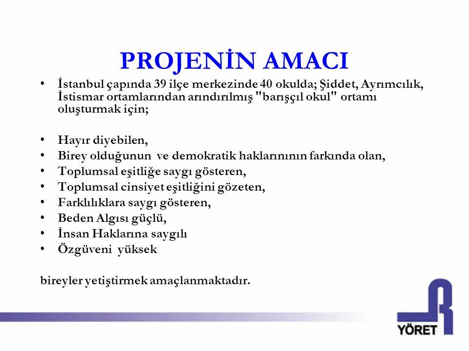 PROJENİN AMACI İstanbul çapında 39 ilçe merkezinde 40 okulda; Şiddet, Ayrımcılık, İstismar ortamlarından arındırılmış barışçıl okul ortamı oluşturmak için; Hayır diyebilen, Birey olduğunun ve demokratik haklarınının farkında olan, Toplumsal eşitliğe saygı gösteren, Toplumsal cinsiyet eşitliğini gözeten, Farklılıklara saygı gösteren, Beden Algısı güçlü, İnsan Haklarına saygılı Özgüveni yüksek bireyler yetiştirmek amaçlanmaktadır.