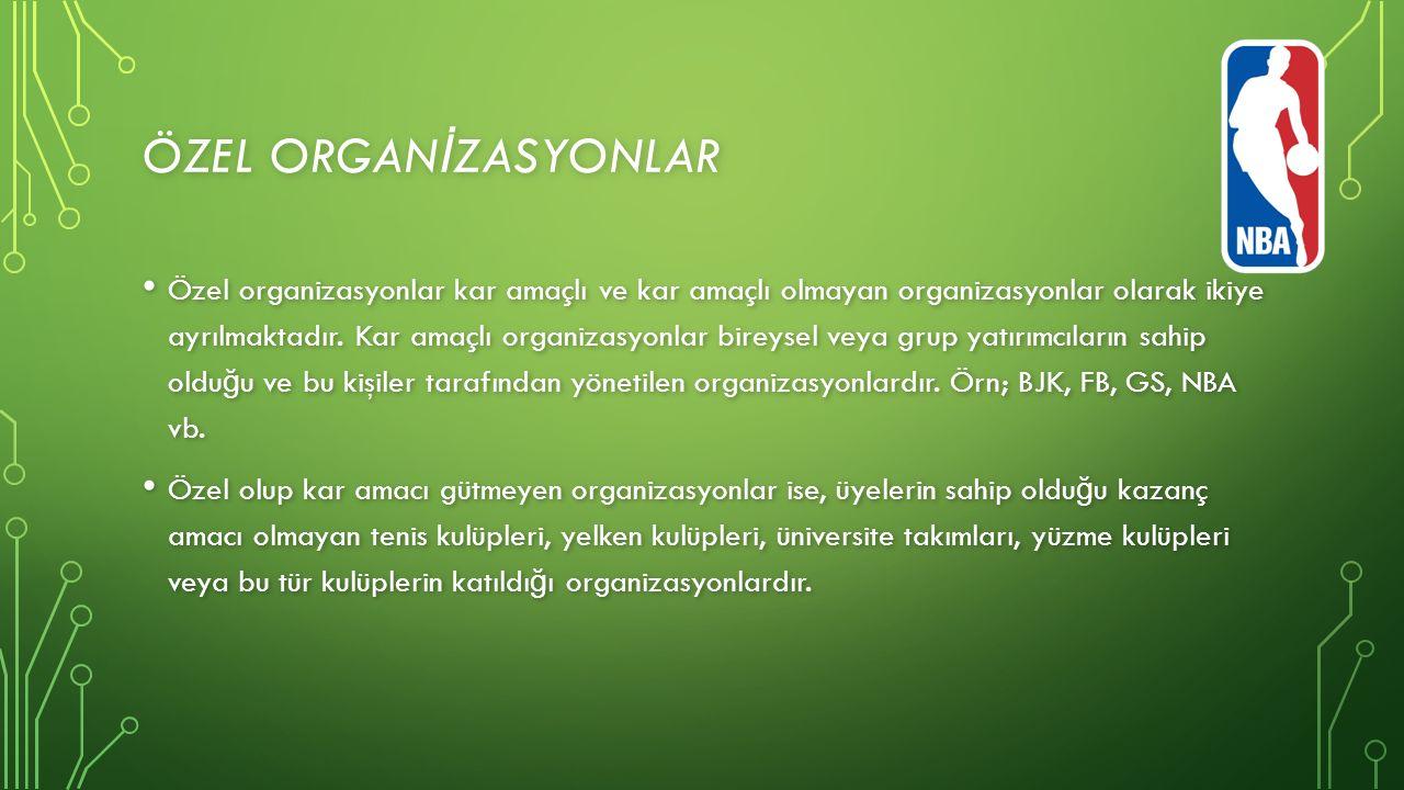 ÖZEL ORGAN İ ZASYONLAR Özel organizasyonlar kar amaçlı ve kar amaçlı olmayan organizasyonlar olarak ikiye ayrılmaktadır.